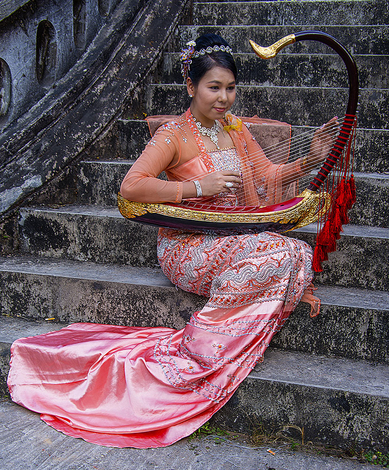 Myanmar harp player