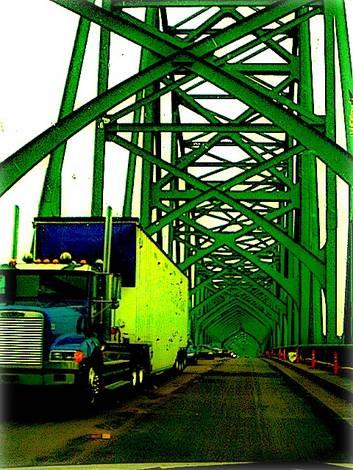 semi on bridge