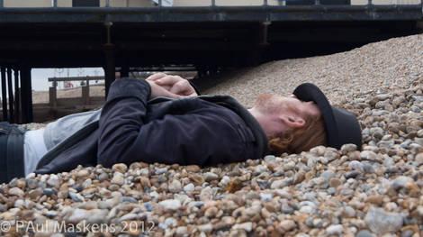 body on the beach