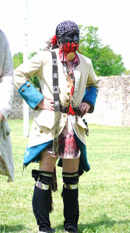 Living History at Fort Frederick Md.  example of Indian dress influenced by