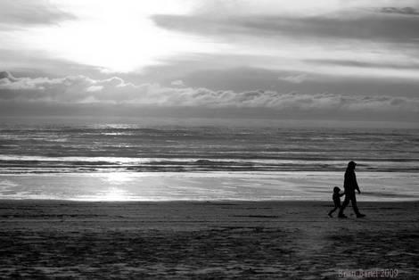 B W Sunset Father/Son Beach