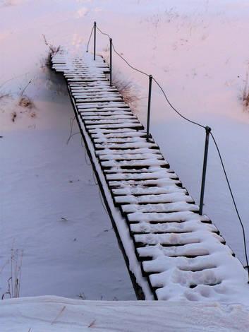 Snowy footbridge