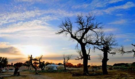 Sunrise in Mongol village