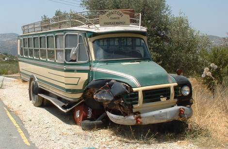 Old bus Trudos Mountains Cyprus