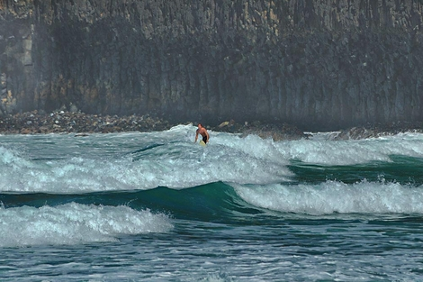 Surfing the lava wall