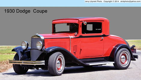 A red 1930 Dodge coupe