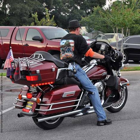 On his H-D
