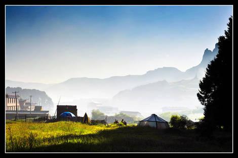 Misty morning at village 1