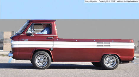 A 1964 Chevy Corvair Rampside truck