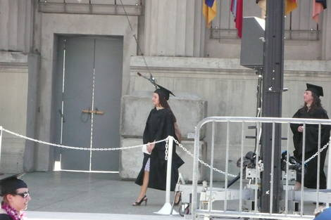 Daughter on stage to get diploma