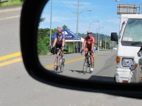 Rear-view mirror shot
