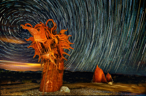 Metal Sculpture by Ricardo Breceda Star Trails