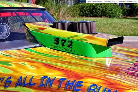 Colors (plastic sheeting) on a drag car