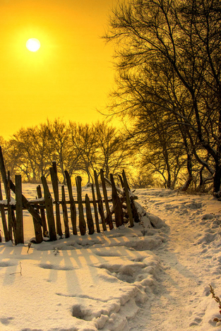 Golden hour in snowtown