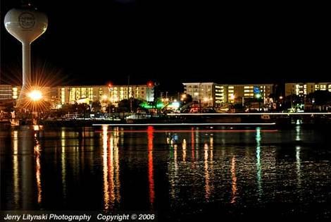 Night lights on the Intercoastal Waterway