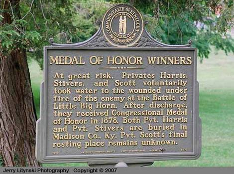 A marker for three Medal of Honor soldiers
