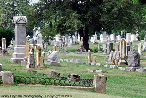 A section of a small-town cemetery