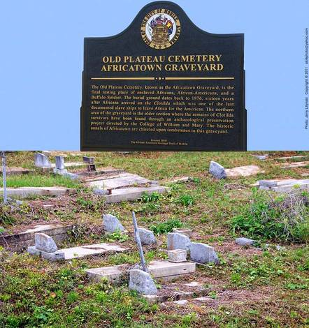 A graveyard historical marker and part of the graveyard