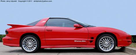 A Pontiac TransAm in red