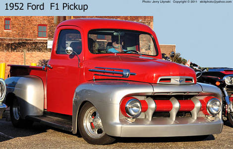 A 1952 Ford F1 pickup truck