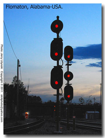 Red Railroad Signals at dusk