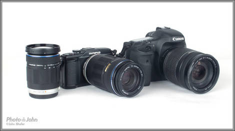 Olympus E-PL2 Pen Kit Next To Canon EOS 7D