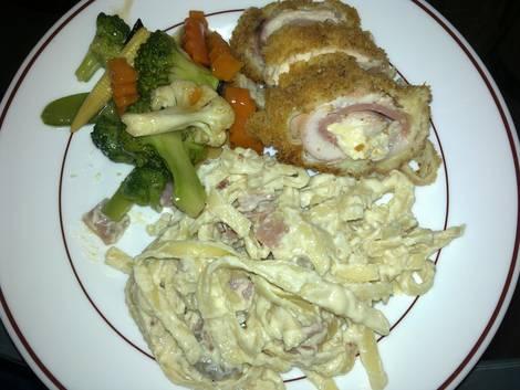 Pasta, chicken cordon bleu and veggies