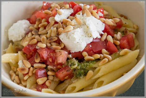 Pasta With Pesto, Fresh Tomatoes & Goat Cheese