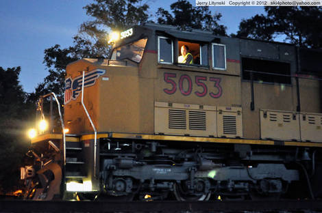 Union Pacific [UP] Engine No. 5053 at night