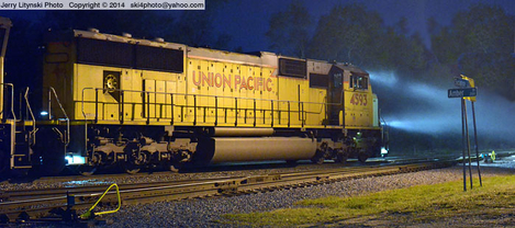 A Union Pacific locomotive about to depart