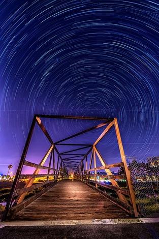 Star Trails over the Santa Ana Bridge