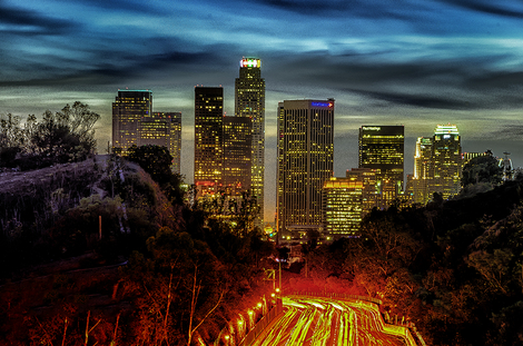 The Blue hour of LA Downtown ~ 101 Freeway