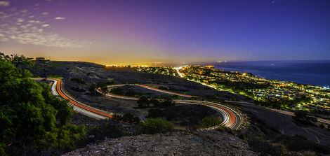 Hain Pin Turn of Rancho Palos Verdes at night