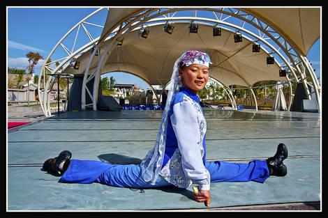 Performing leg stretch