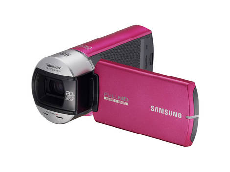 Captivating Pink Samsung Camcorder Q10 - Front side